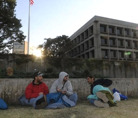 Three of the former Guantanamo prisoners resettled in Uruguay last December in their protest outside the US Embassy (Photo: F. Flores/El País Uruguay).