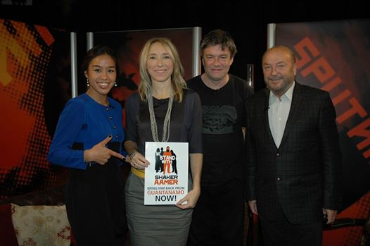 Joanne MacInnes and Andy Worthington of We Stand With Shaker with George Galloway and Gayatri for the Sputnik show broadcast on RT on November 29, 2014.