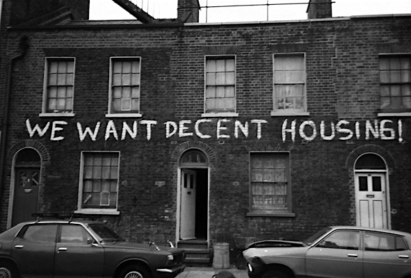 Housing crisis: a photo from the 1970s, sadly as relevant today as it was then.