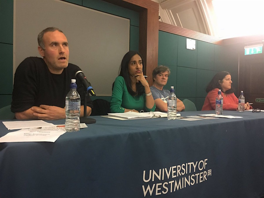 Sam Raphael, Alka Pradhan, Andy Worthington and Carla Ferstman at an event about Guantanamo, torture and the military commissions at the University of Westminster on November 2, 2016 (photo via Gitmo Watch).