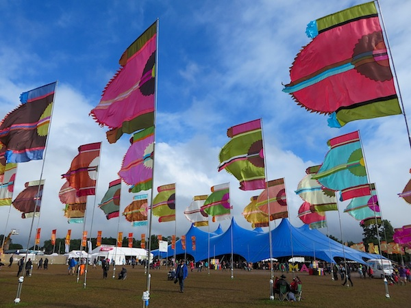 Flags at WOMAD, at Charlton Park in Wiltshire, in July 2015 (Photo: Andy Worthington).