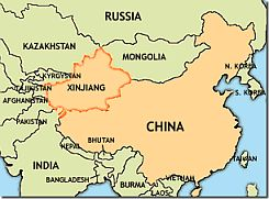 Map showing China and Xinjiang province