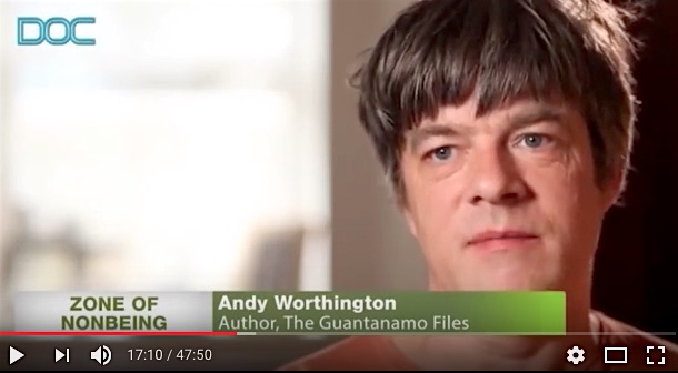 A screenshot from 'Zone of Non-Being: Guantanamo', a documentary film released in 2014.