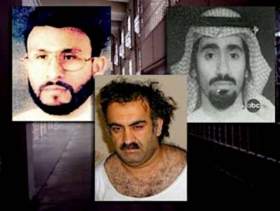"Abu Zubaydah, Khalid Sheikh Mohammed and Abd al-Rahim al-Nashiri, three of the 14 ""high-value detainees"" who arrived at Guantanamo from CIA ""black sites"" ten years ago, on September 6, 2006."