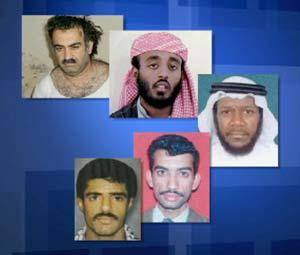 The five co-defendants charged in connection with the 9/11 attacks